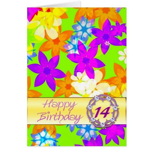 14to cumpleaños de las flores fabulosas tarjetón
