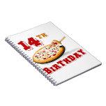 14to Fiesta de la pizza del cumpleaños Libreta Espiral