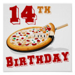 14to Fiesta de la pizza del cumpleaños Poster
