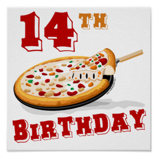 14to Fiesta de la pizza del cumpleaños Póster
