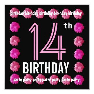 14to Flores del rosa de la fiesta de cumpleaños Comunicado Personal