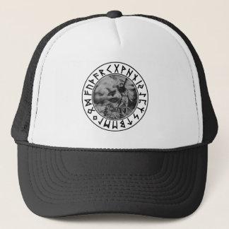 14x12 Thor rune shield on Wht Trucker Hat