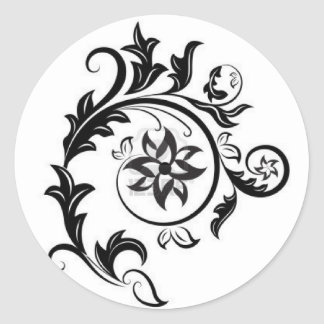 15011824-black-and-white-floral-design-element-iso classic round sticker
