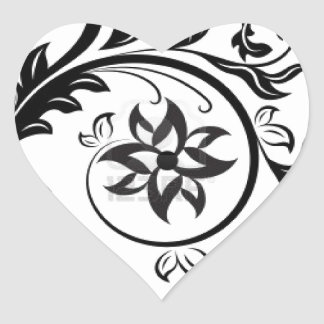 15011824-black-and-white-floral-design-element-iso heart sticker
