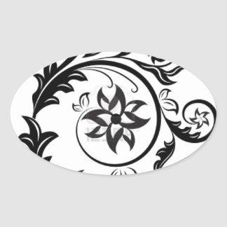 15011824-black-and-white-floral-design-element-iso oval sticker