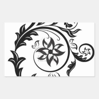 15011824-black-and-white-floral-design-element-iso rectangular sticker