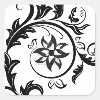 15011824-black-and-white-floral-design-element-iso square sticker