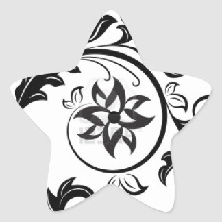 15011824-black-and-white-floral-design-element-iso star sticker