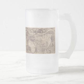 1507 Martin Waldseemuller World Map Frosted Glass Beer Mug