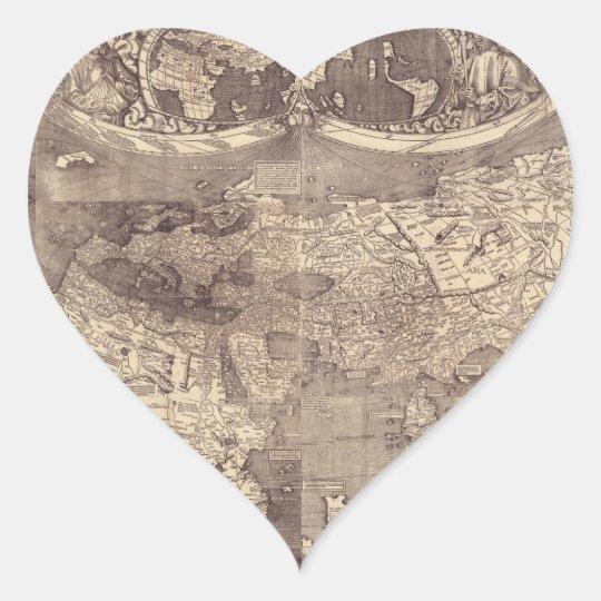 1507 Martin Waldseemuller World Map Heart Sticker