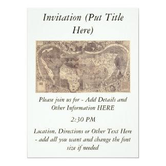 1507 Martin Waldseemuller World Map 6.5x8.75 Paper Invitation Card