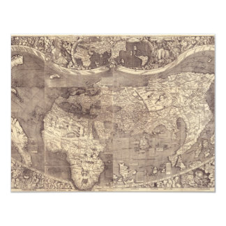 1507 Martin Waldseemuller World Map Custom Announcement