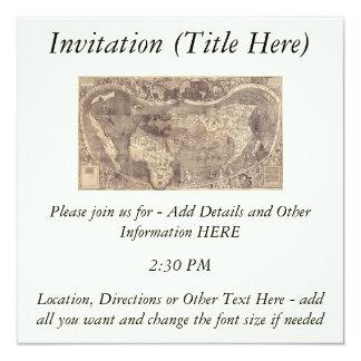 1507 Martin Waldseemuller World Map Custom Invite