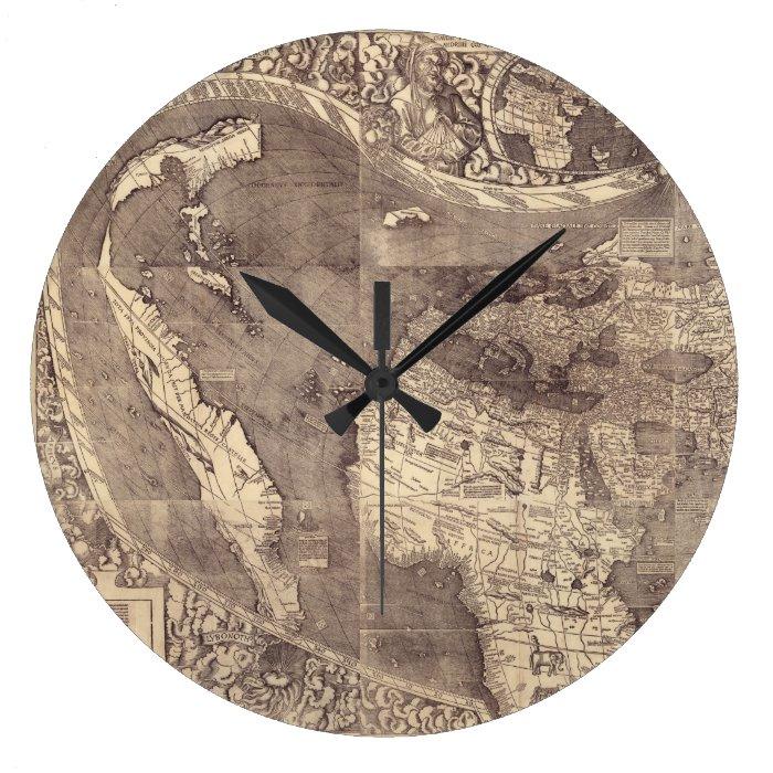 1507 Martin Waldseemuller World Map Large Clock