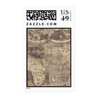 1507 Martin Waldseemuller World Map Postage Stamp
