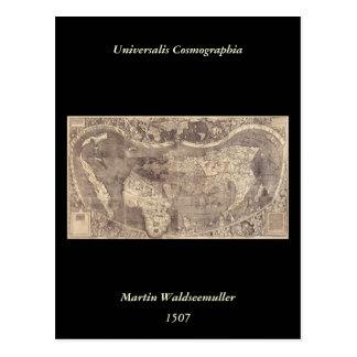 1507 Martin Waldseemuller World Map Postcard