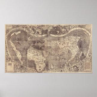 1507 Martin Waldseemuller World Map Poster