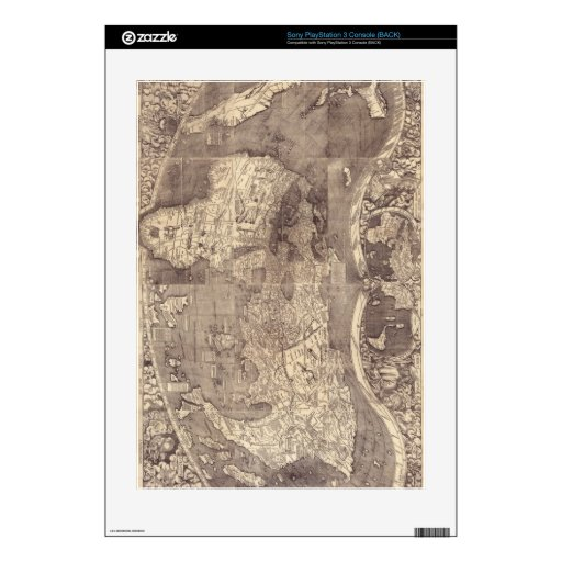 1507 Martin Waldseemuller World Map Decal For PS3 Console