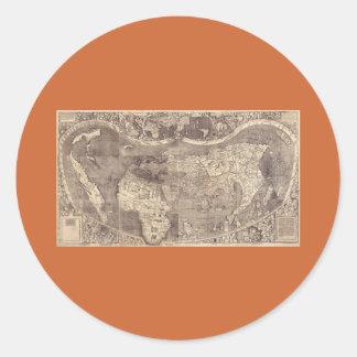 1507 Martin Waldseemuller World Map Round Stickers