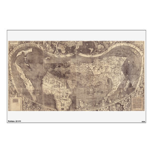 Old world map wall decals wall stickers zazzle 1507 martin waldseemuller world map wall decal gumiabroncs Images
