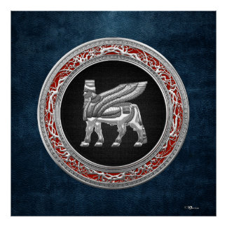 [150] Babylonian Winged Bull [Silver] [3D] Poster