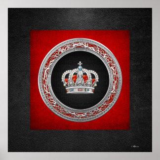 [150] Príncipe-Princesa Rey-Reina Crown [plata] Póster