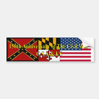150th Anniversary of The Civil War C S A & US Bumper Sticker