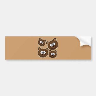153 HAPPY SMILING BROWN BEARS RETRO STYLE DIGITAL BUMPER STICKER