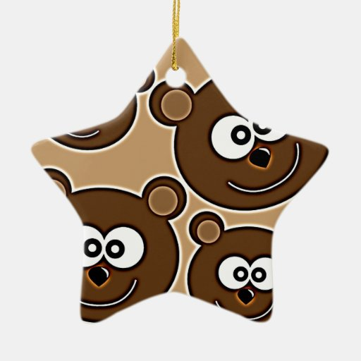153 HAPPY SMILING BROWN BEARS RETRO STYLE DIGITAL CHRISTMAS TREE ORNAMENTS