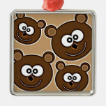 153 HAPPY SMILING BROWN BEARS RETRO STYLE DIGITAL CHRISTMAS ORNAMENT