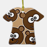153 HAPPY SMILING BROWN BEARS RETRO STYLE DIGITAL CHRISTMAS ORNAMENTS
