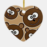 153 HAPPY SMILING BROWN BEARS RETRO STYLE DIGITAL CHRISTMAS TREE ORNAMENT