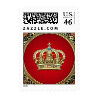 [153] Prince-Princess King-Queen Crown [Gold] Postage Stamps