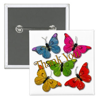 15418 colourful butterflies thank you button