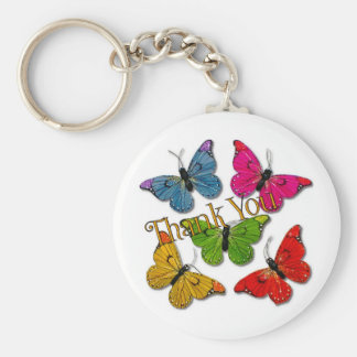 15418 colourful butterflies thank you keychain