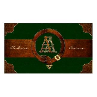 [154] AA Monogram [Brass+Leather] Business Card Templates