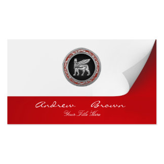 [154] Babylonian Winged Bull [Silver] [3D] Business Card