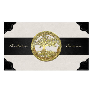 [154] Celtic Tree of Life [Gold] Double-Sided Standard Business Cards (Pack Of 100)