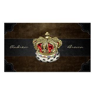 [154] Corona real [piel+Oro] [rojo] Tarjetas De Visita