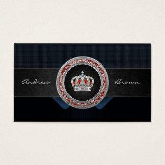 [154] Prince-Princess King-Queen Crown [Silver] Business Card
