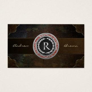 "[154] ""R"" Silver Vintage Monogram Business Card"
