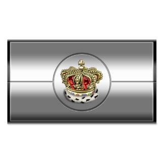 [154] Royal Crown [Fur+Gold][Red] Double-Sided Standard Business Cards (Pack Of 100)