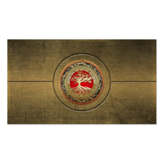 [154] Treasure Trove: Celtic Tree of Life [Gold] Double-Sided Standard Business Cards (Pack Of 100)