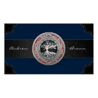 [154] Treasure Trove: Celtic Tree of Life [Silver] Double-Sided Standard Business Cards (Pack Of 100)