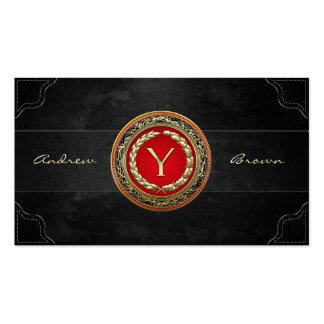 """[154] """"Y"""" Gold Vintage Monogram Double-Sided Standard Business Cards (Pack Of 100)"""