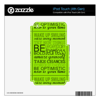 1555 ENCOURAGING MOTTOS WAKE UP SMILING EXPRESSION DECALS FOR iPod TOUCH 4G