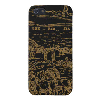 1560 Geneva Bible Red Sea (Sepia on Black) Covers For iPhone 5
