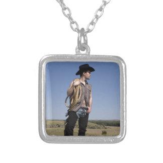 15614-RA Cowboy Square Pendant Necklace