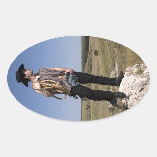 15614-RA Cowboy Oval Sticker
