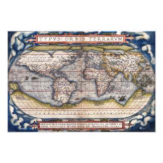 1564 World Map by Ortelius Photo Print